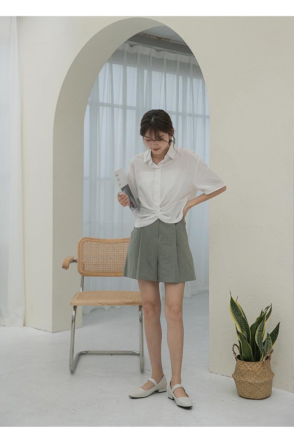 韓系清新.方頭低跟瑪莉珍鞋 香草米白