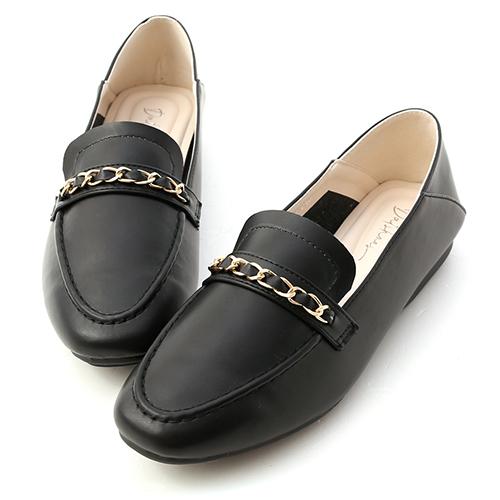 舒適印象.金屬鍊條可後踩樂福鞋