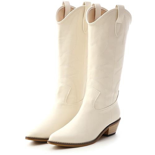 嬉皮潮流.火焰刺繡V口牛仔靴