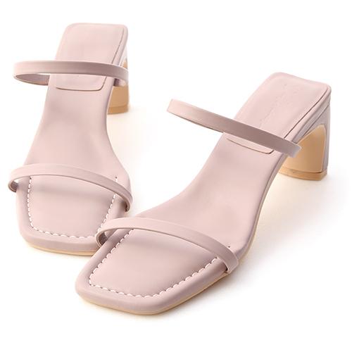 時尚夏季.一字雙帶扁跟高跟涼鞋