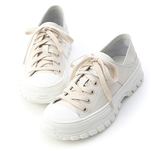 D+AF 舒活日常.可後踩真皮綁帶休閒鞋