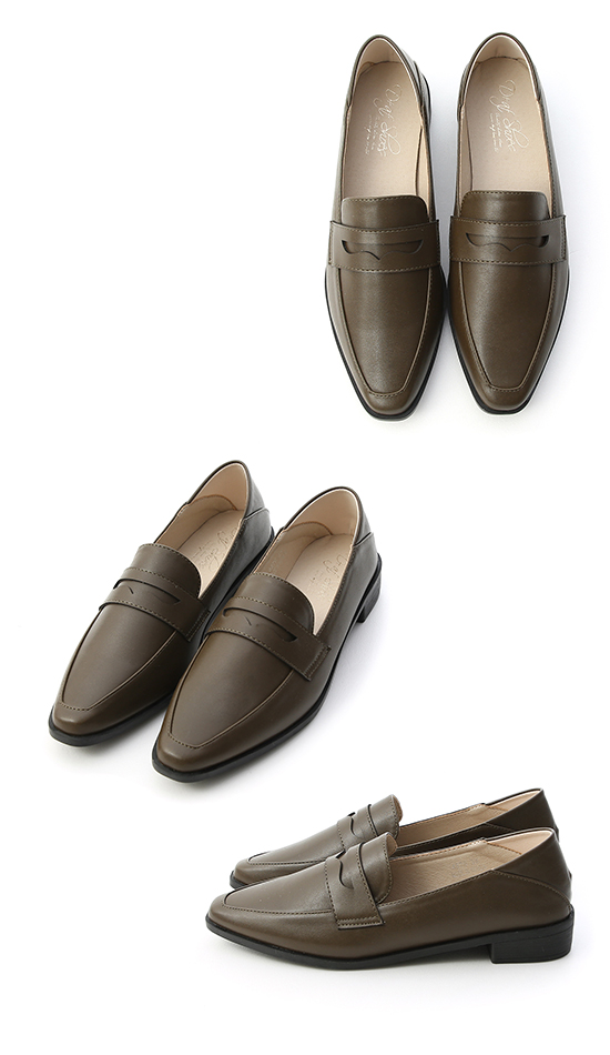 Classic Pointed Toe Penny Loafers Olive Green