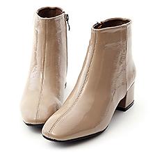 D+AF 摩登潮流.素面漆皮方頭中跟短靴